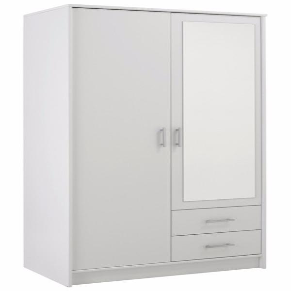 Oppsiktsvekkende Parisot Infinity doble garderobeskap med speil i hvitt BU-13
