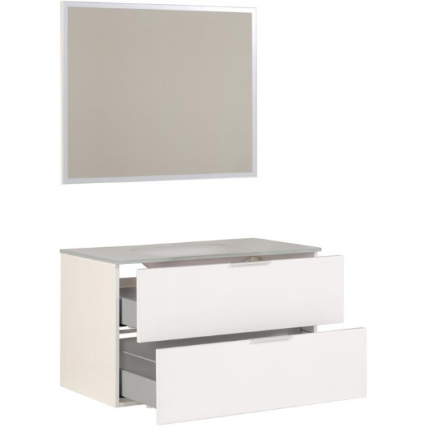 parisot luxy hvit 90cm bad satt med glass basseng. Black Bedroom Furniture Sets. Home Design Ideas